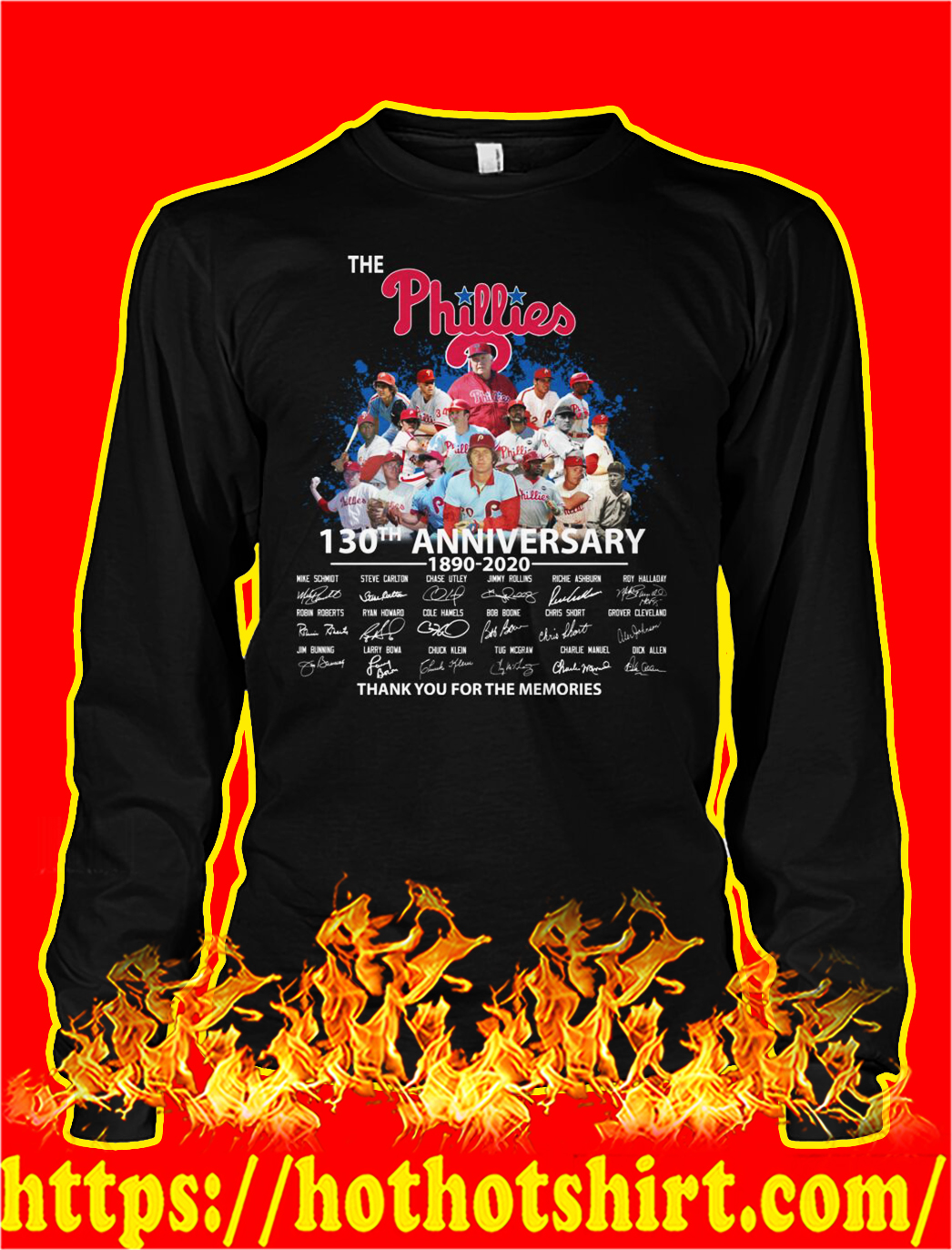 The phillies 130th anniversary thank you for the memories longsleeve tee
