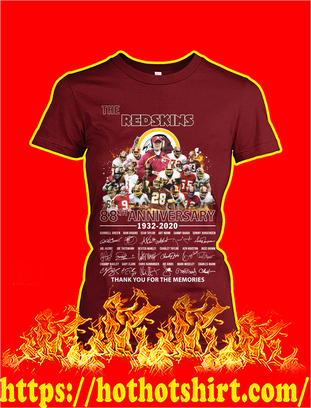 The redskins 88th anniversary thank you for the memories lady shirt