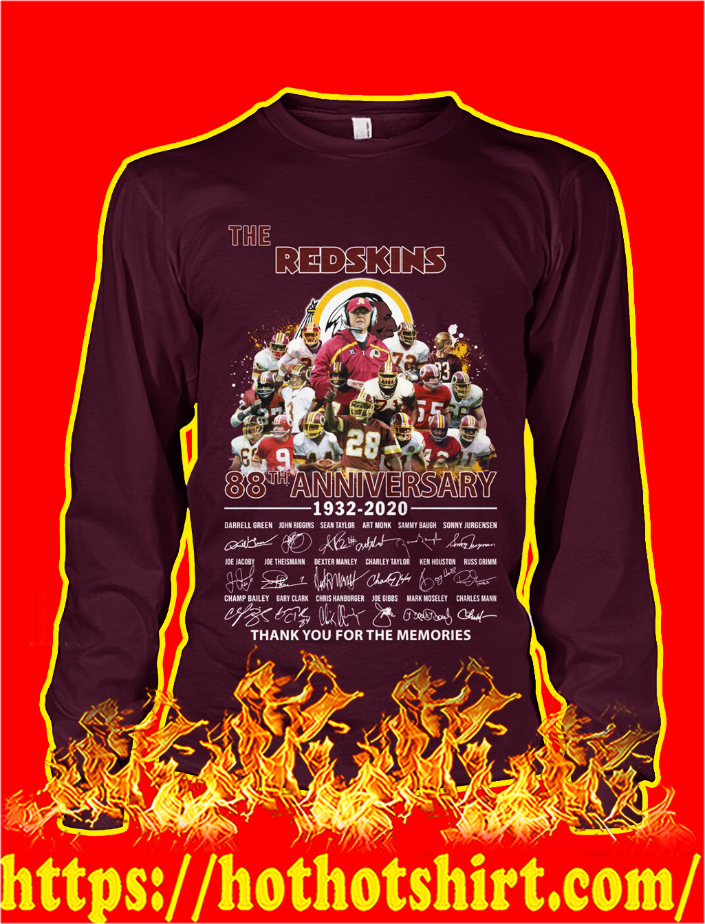 The redskins 88th anniversary thank you for the memories longsleeve tee