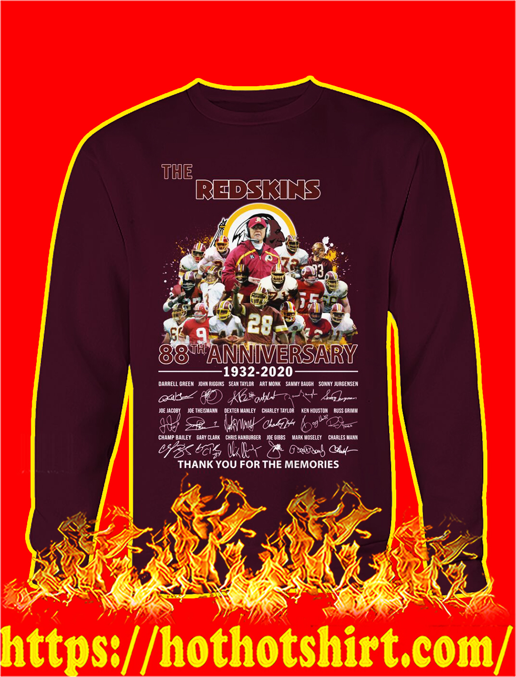 The redskins 88th anniversary thank you for the memories sweatshirt