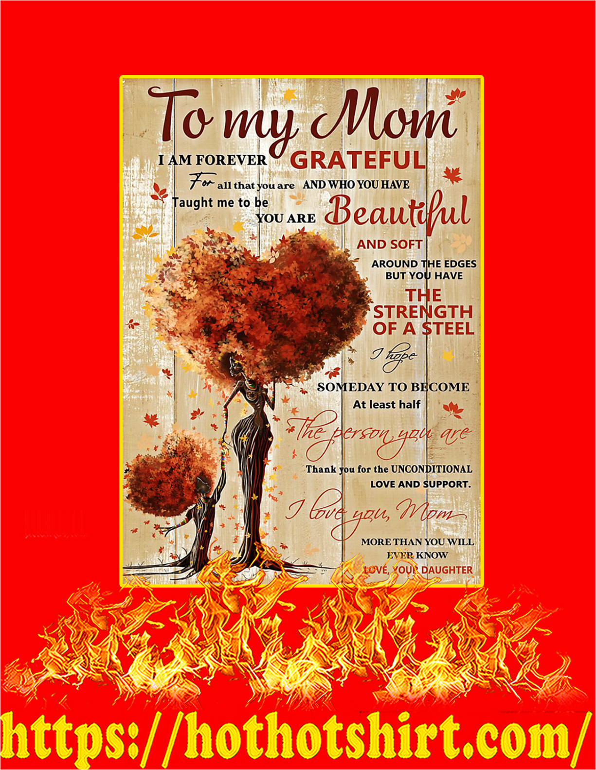 To my mom I'm forever grateful daughter poster - A4