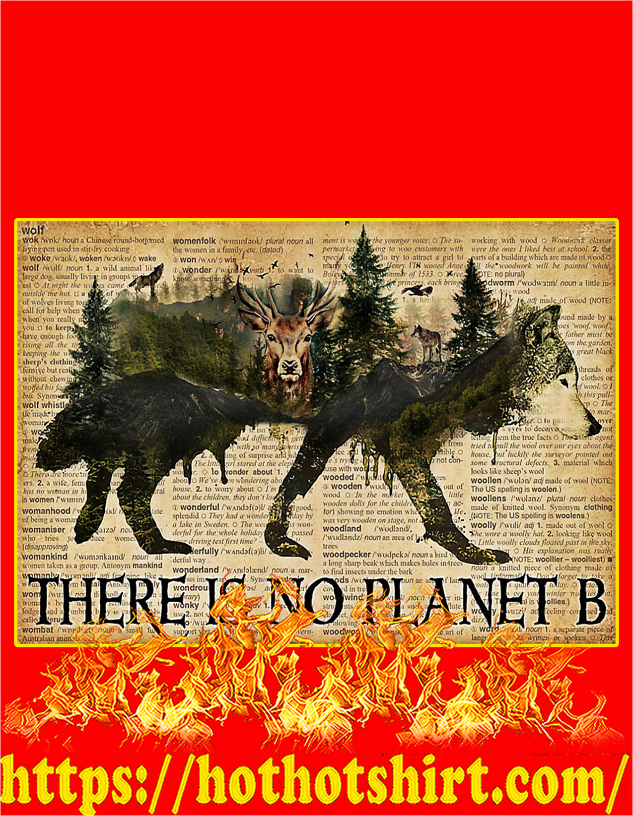 Vintage wolf dictionary there is no planet b poster - A2