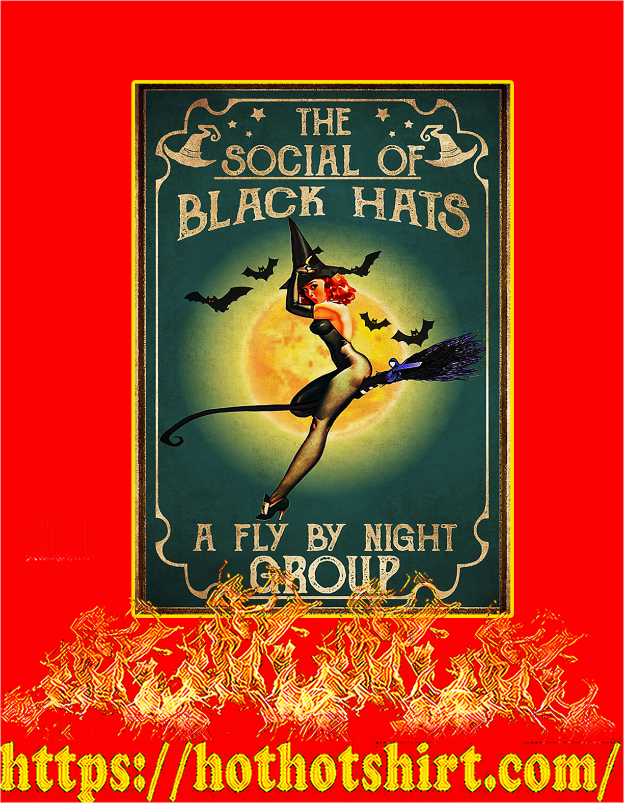 Witch The social of black hats poster - A4
