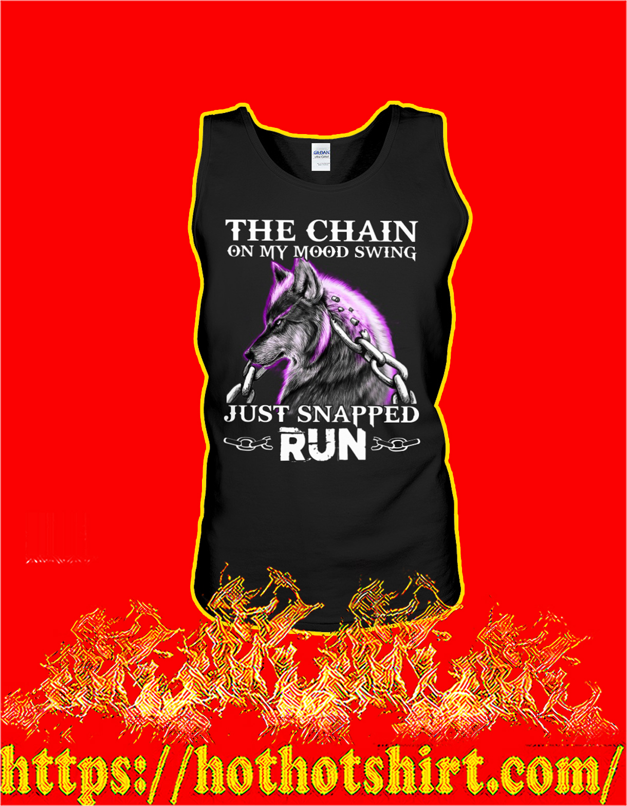 Wolf The chain on my mood swing just snapped run tank top