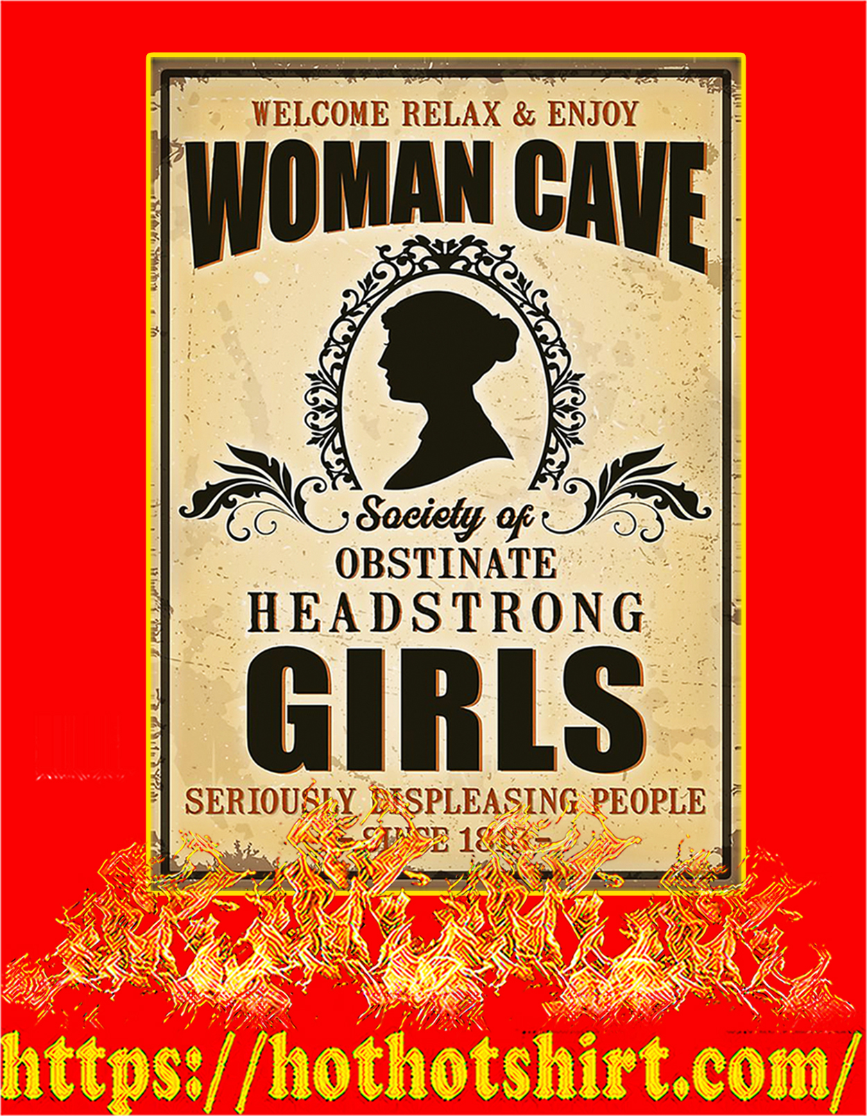 Woman cave society of obstinate headstrong girls poster - A3
