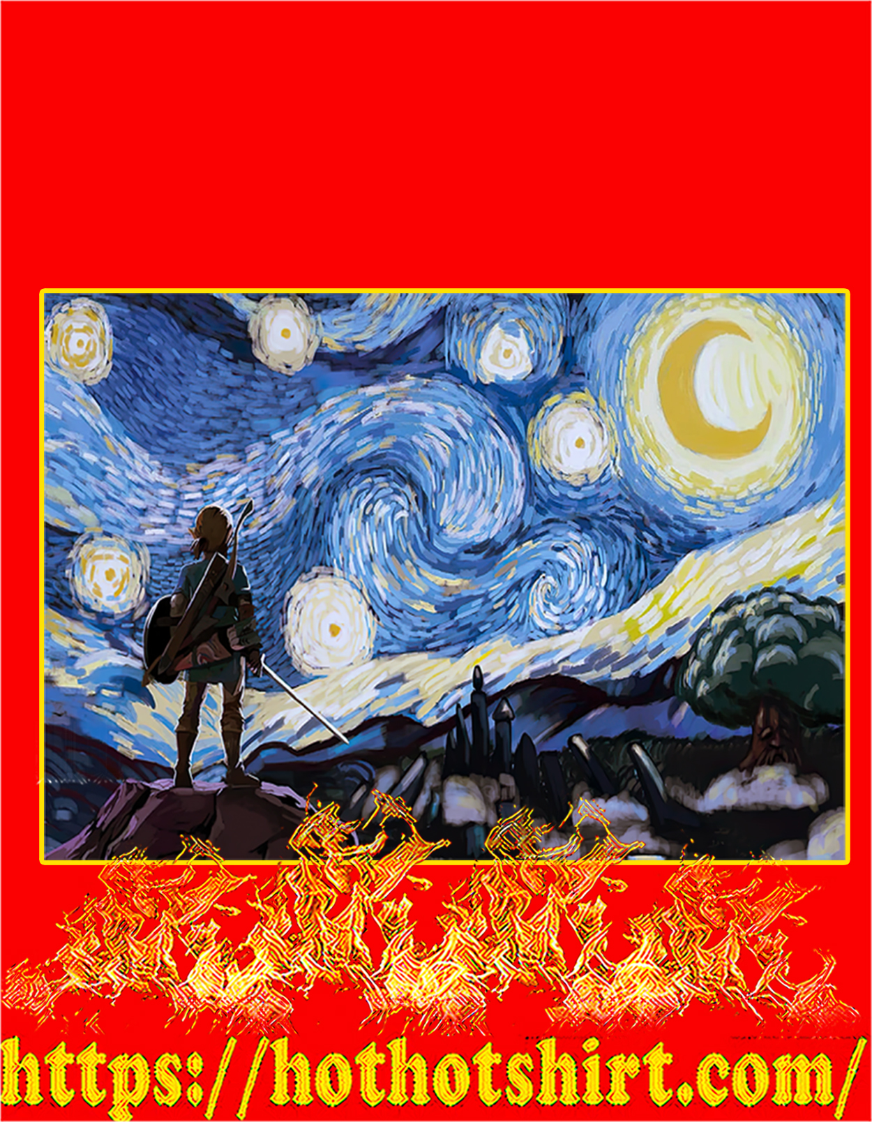 Zelda starry night van gogh poster - A3