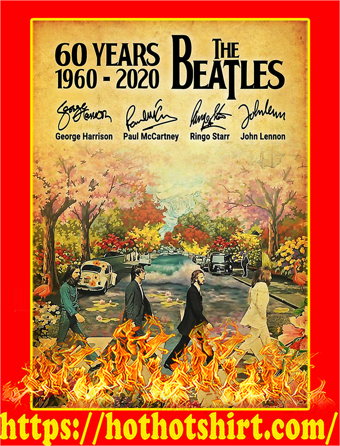 60 years the beatles signature poster - A1