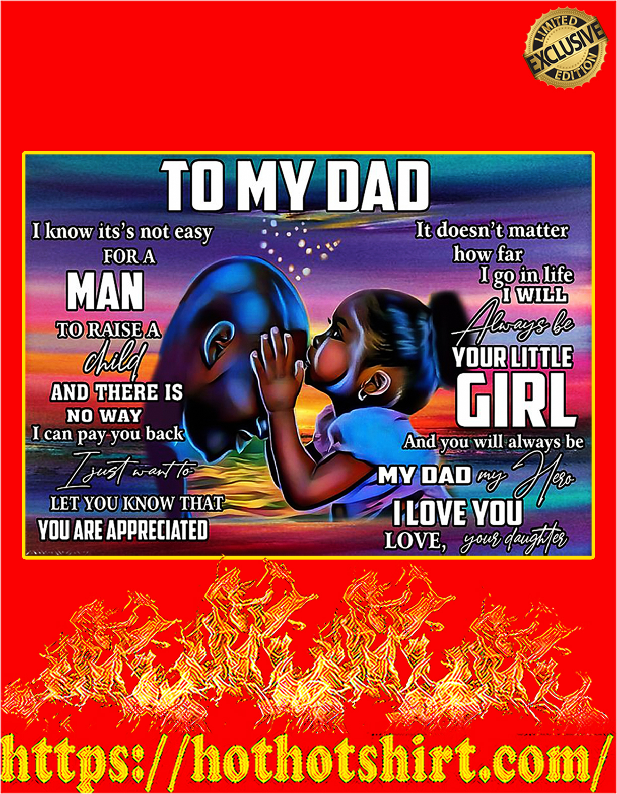 African To my dad your daughter poster - A4