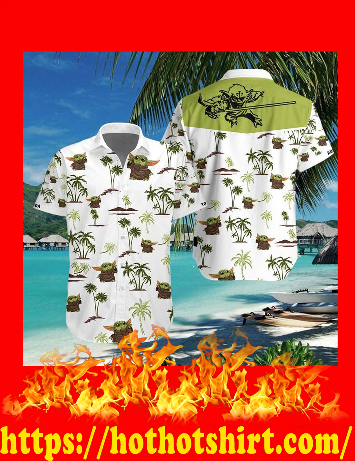 Baby yoda 3d hawaiian shirt - detail