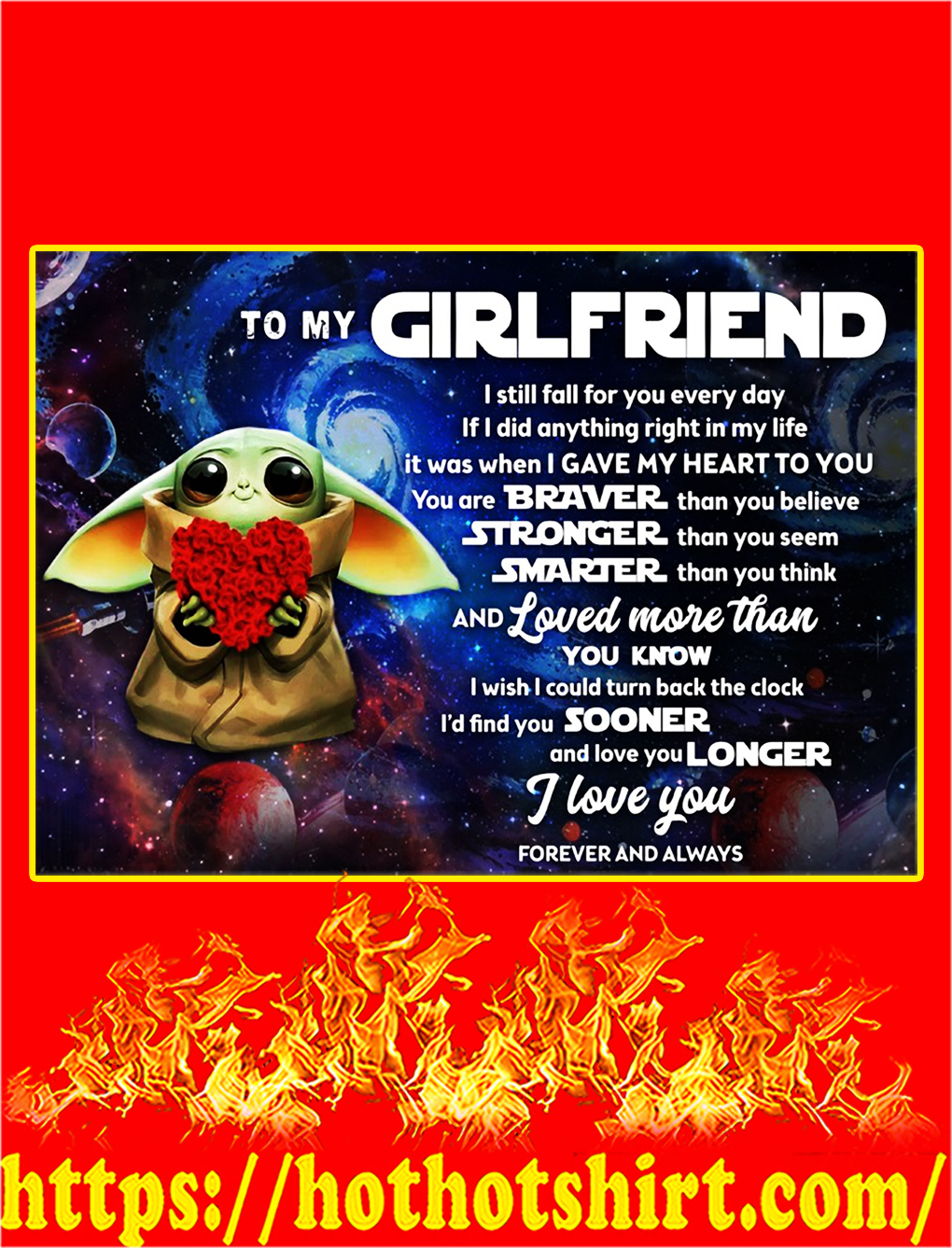 Baby yoda to my girlfriend poster - A3