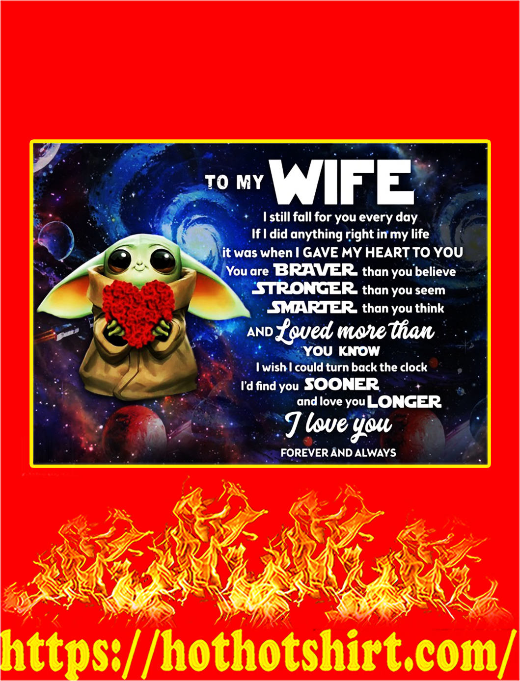 Baby yoda to my wife poster - A2