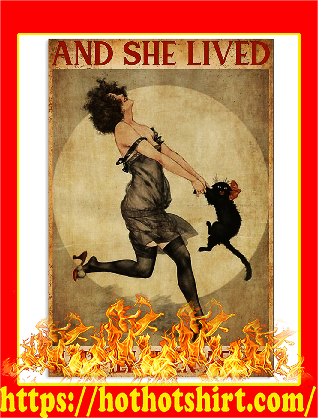 Black cat And she lived happily ever after poster - A1