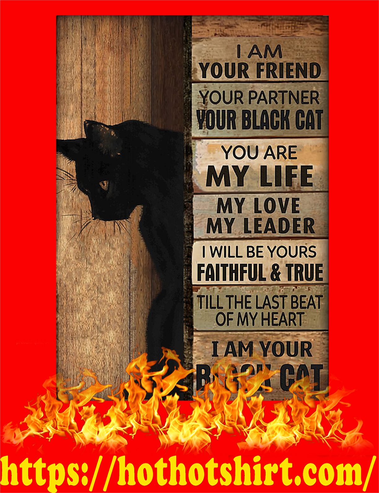 Black cat i am your friend poster - A3