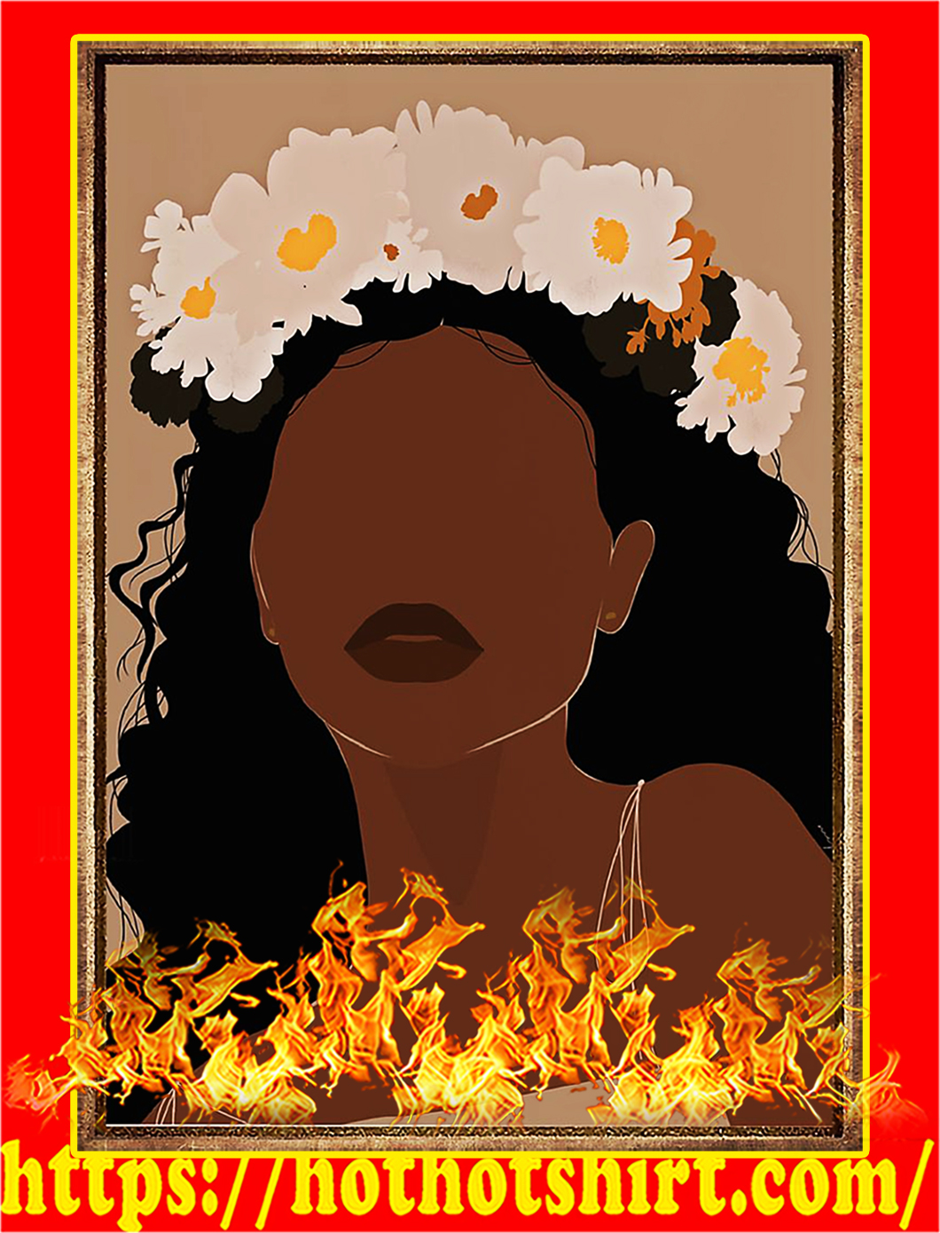 Black girl flower poster - A2