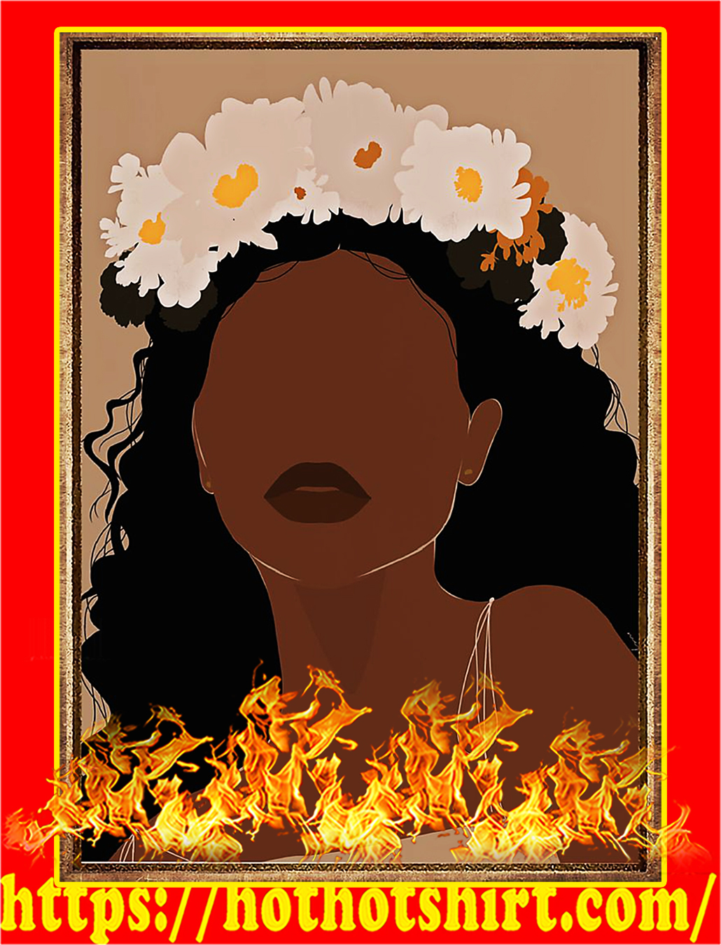 Black girl flower poster - A4
