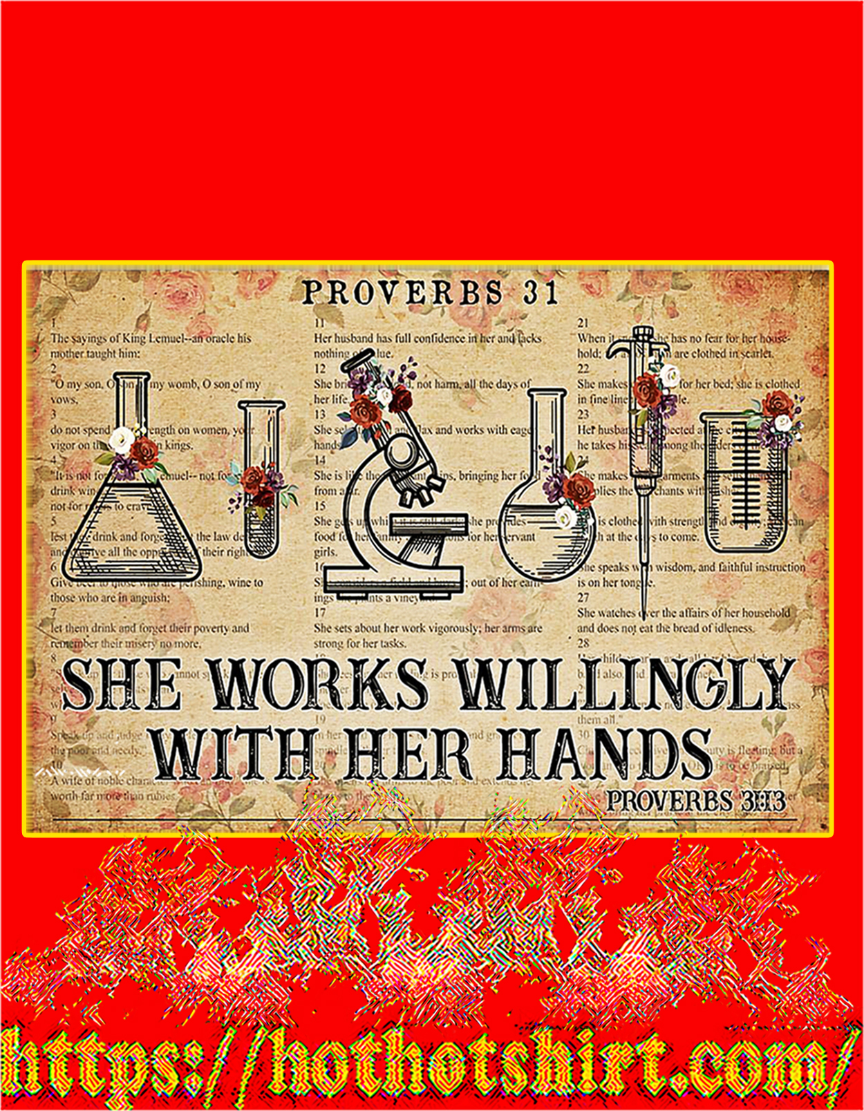 Chemistry She works willingly with her hands poster - A3