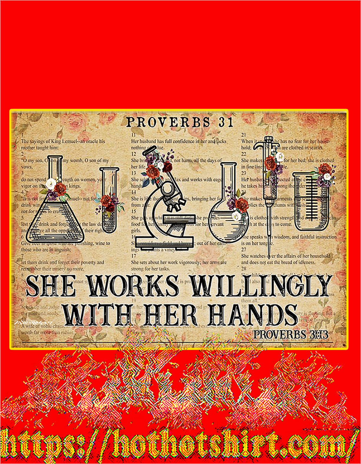 Chemistry She works willingly with her hands poster - A4