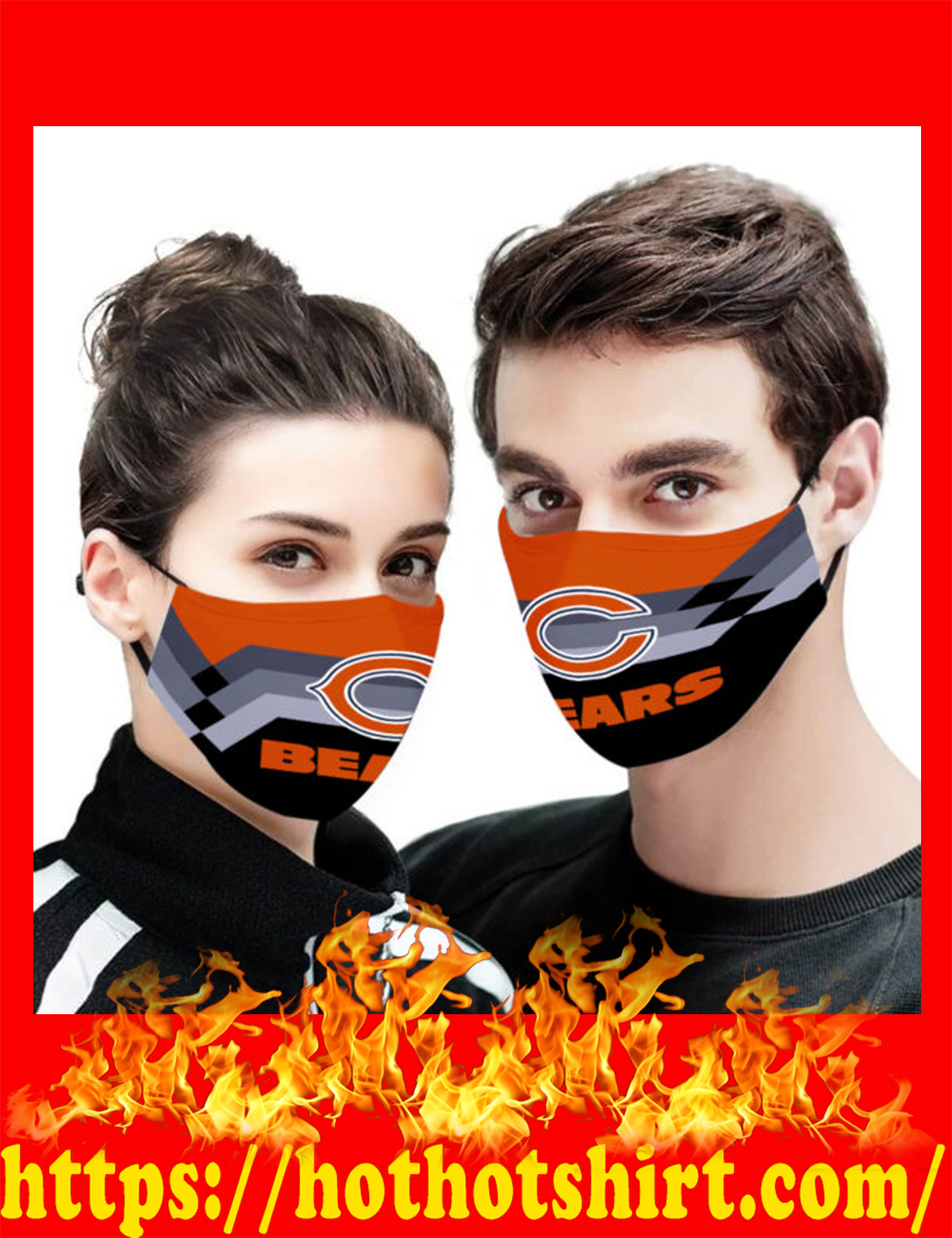 Chicago bears face mask - detail