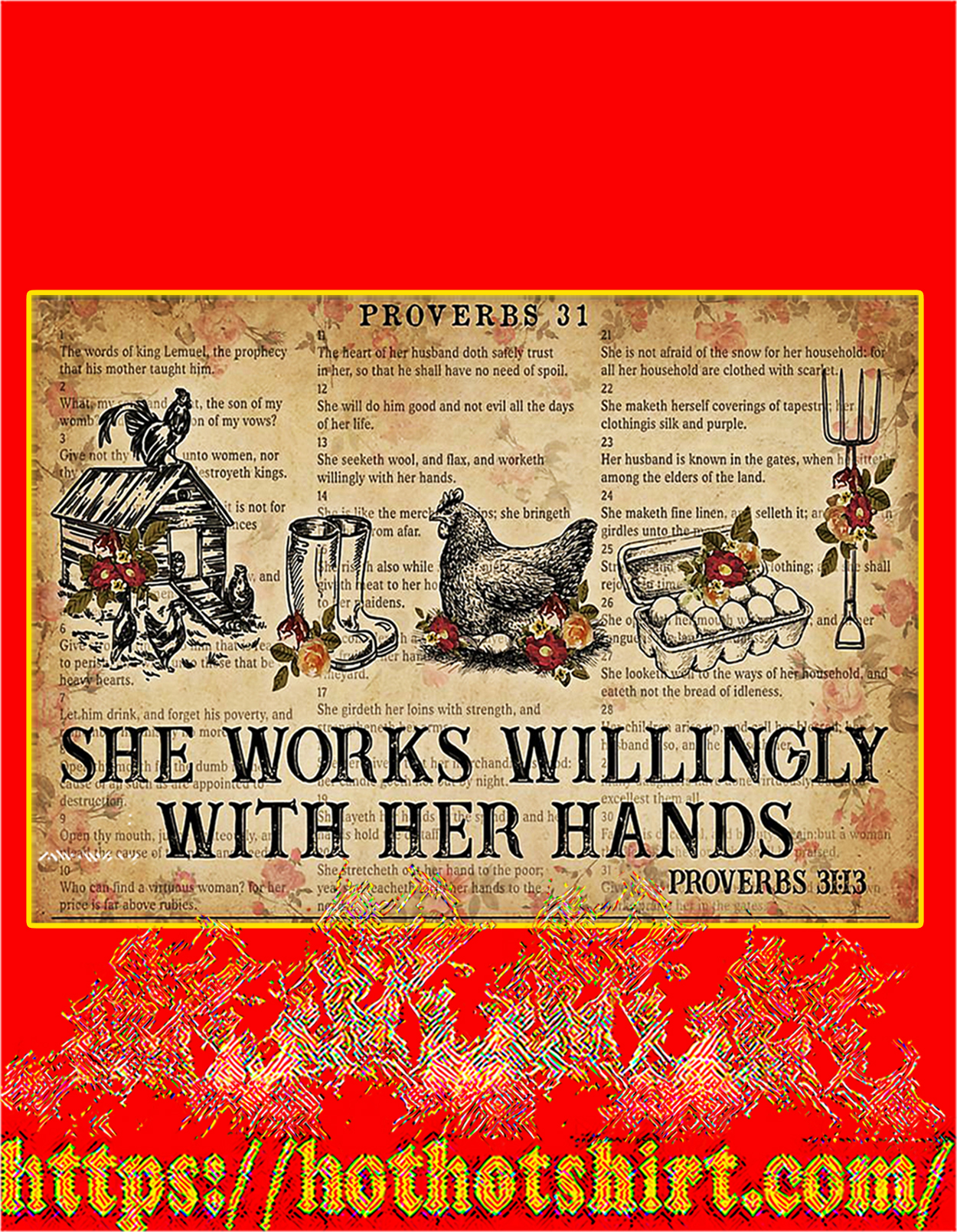 Chicken She works willingly with her hands poster - A2