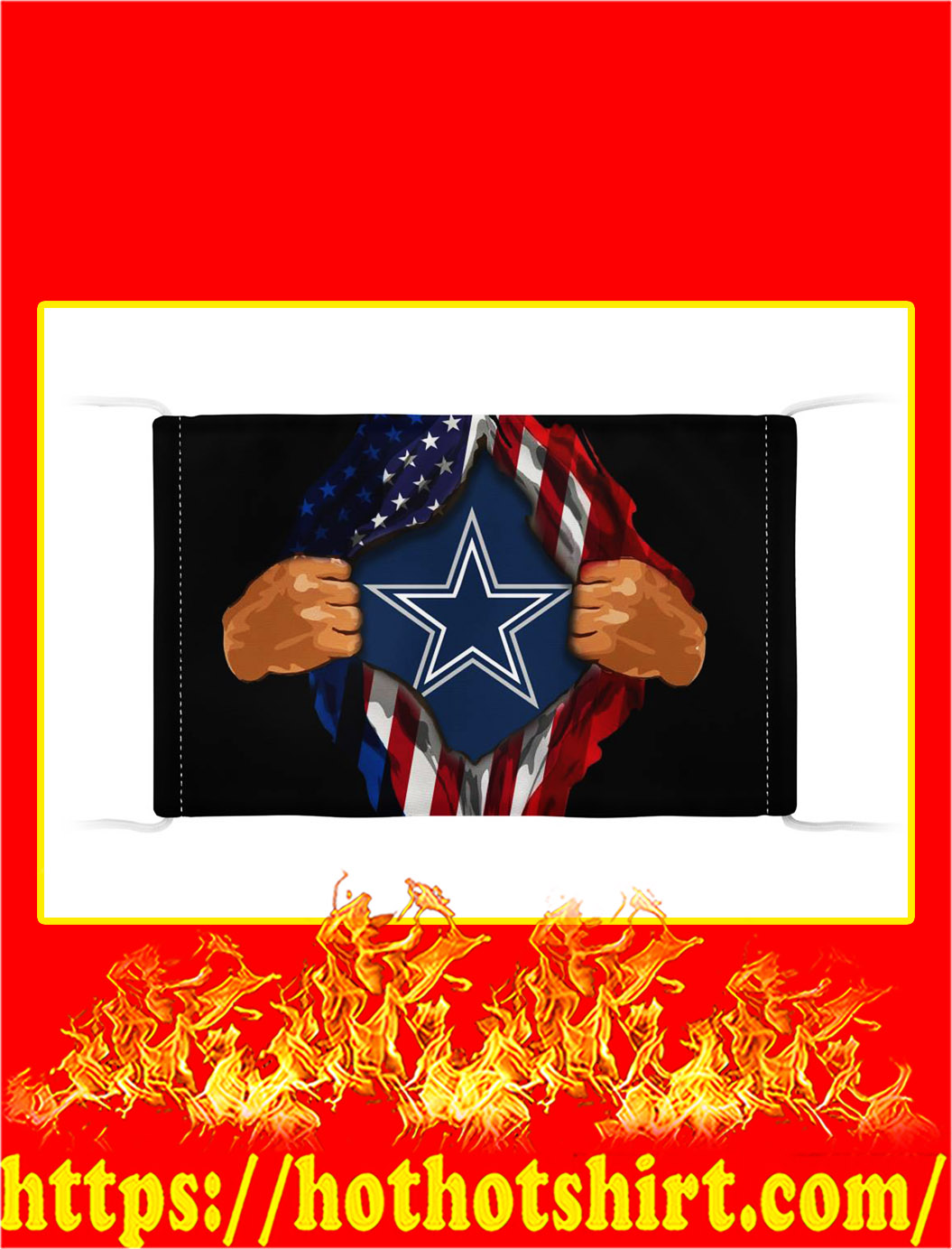 Cowboys inside me american flag face mask