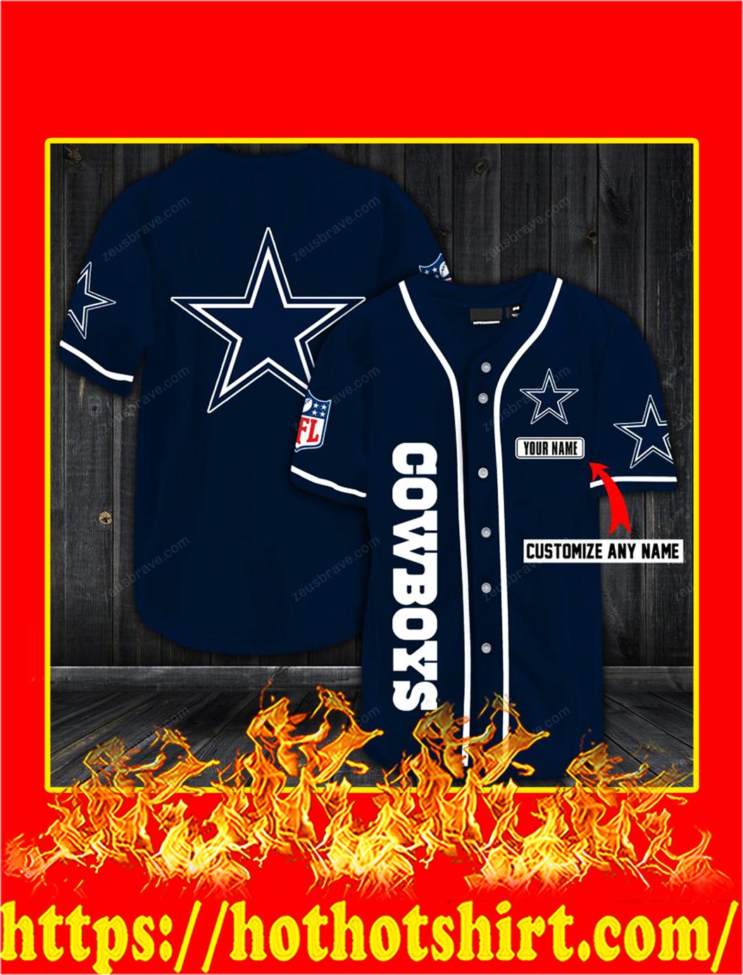 Customize name dallas cowboys hawaiian shirt- navy