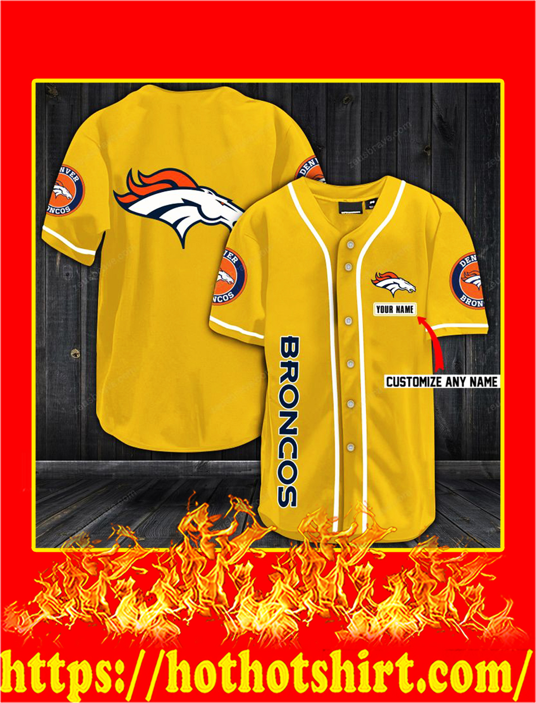 Customize name denver broncos hawaiian shirt- gold