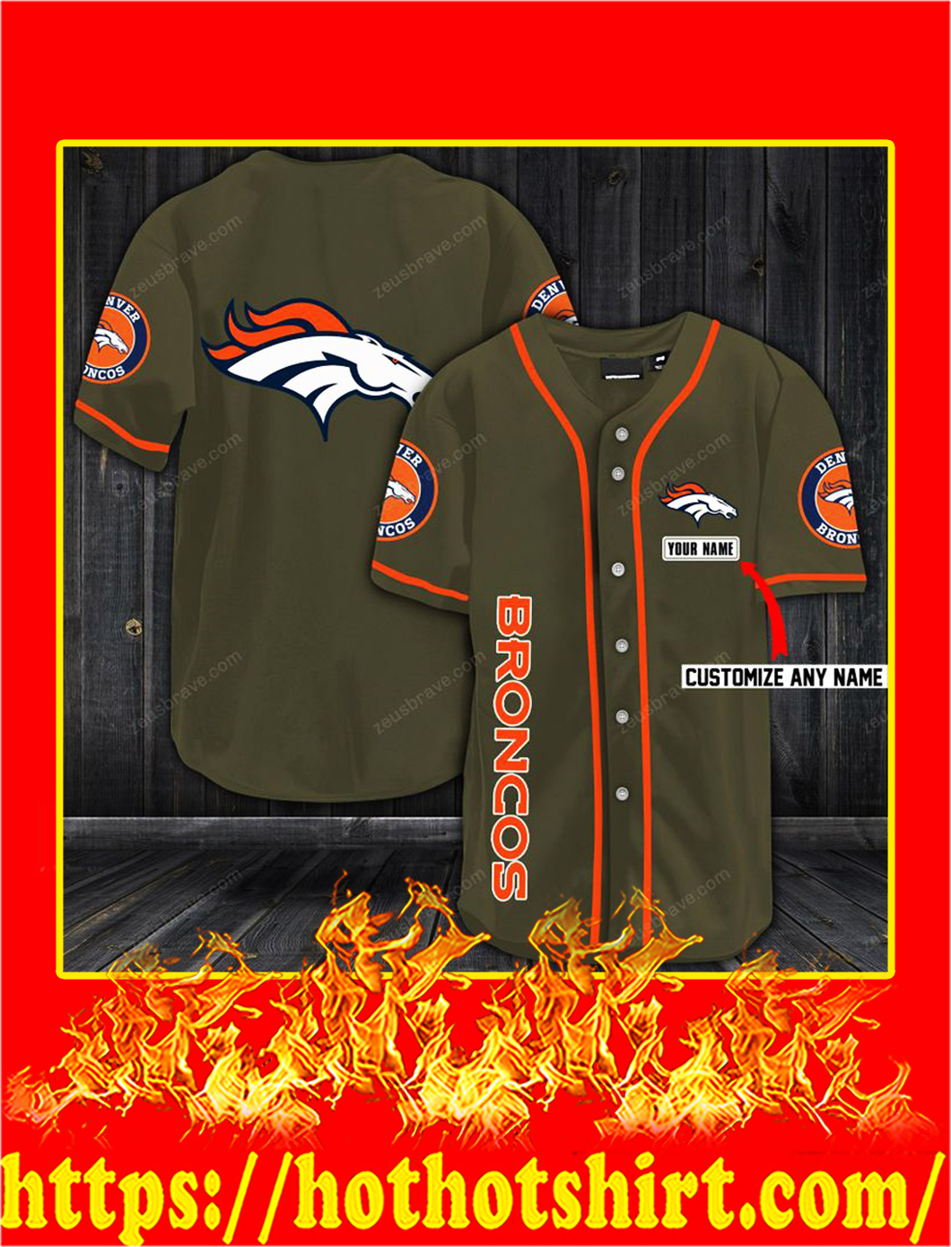 Customize name denver broncos hawaiian shirt- moss green