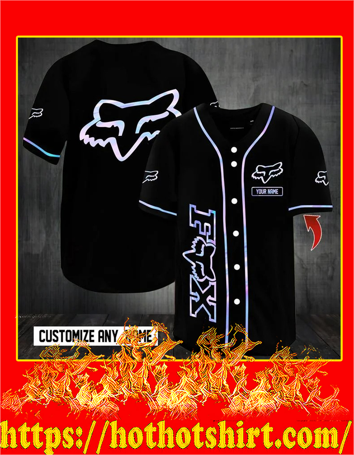 Customize name fox racing hawaiian shirt - detail