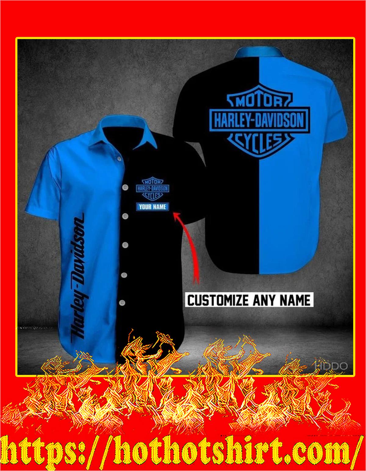 Customize name harley davidson hawaiian shirt - blue
