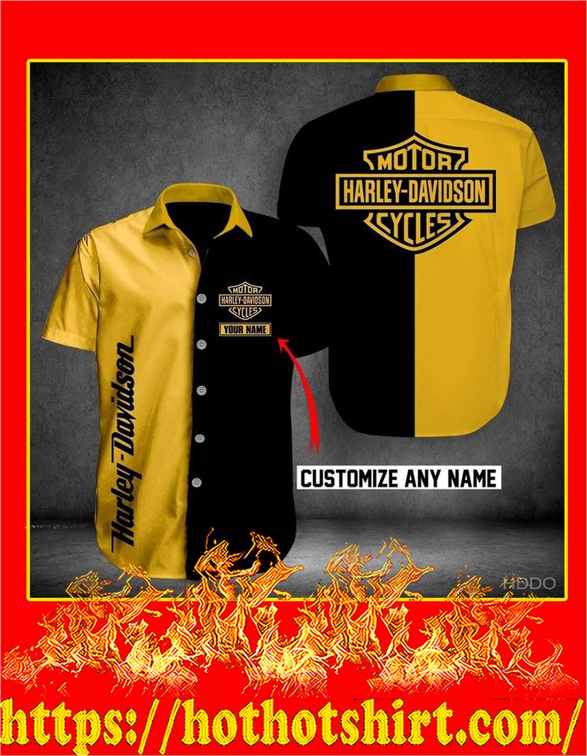 Customize name harley davidson hawaiian shirt - yellow