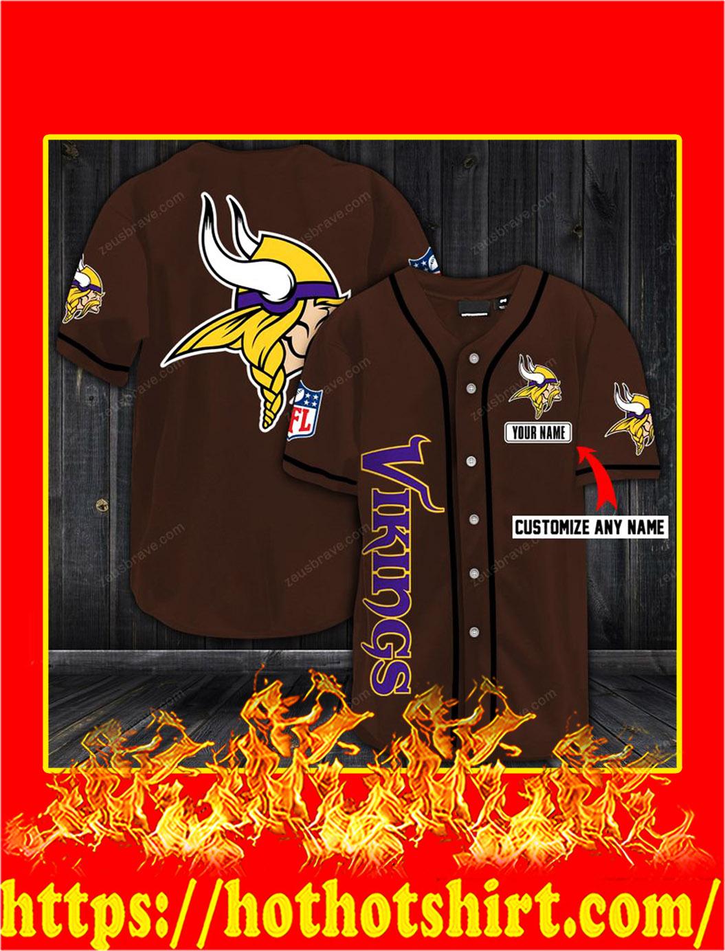 Customize name minnesota vikings hawaiian shirt- brown