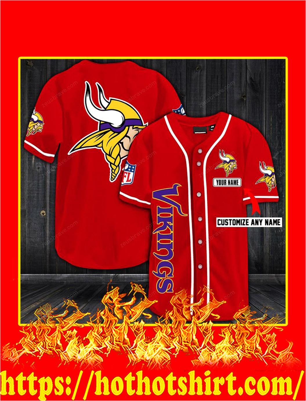 Customize name minnesota vikings hawaiian shirt- red