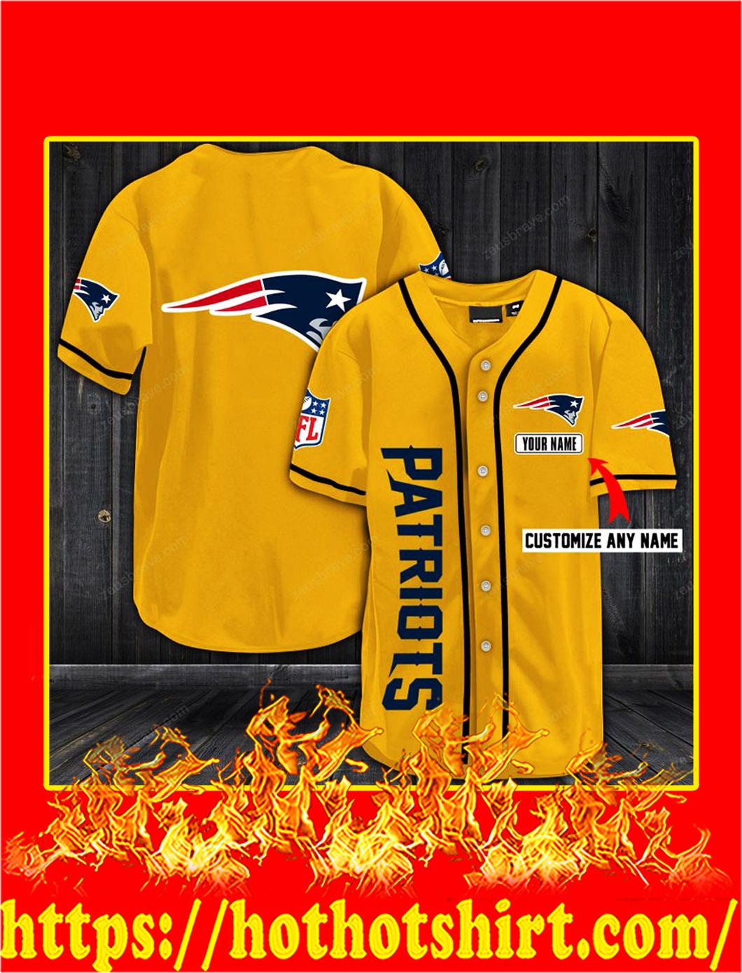 Customize name new england patriots hawaiian shirt- gold