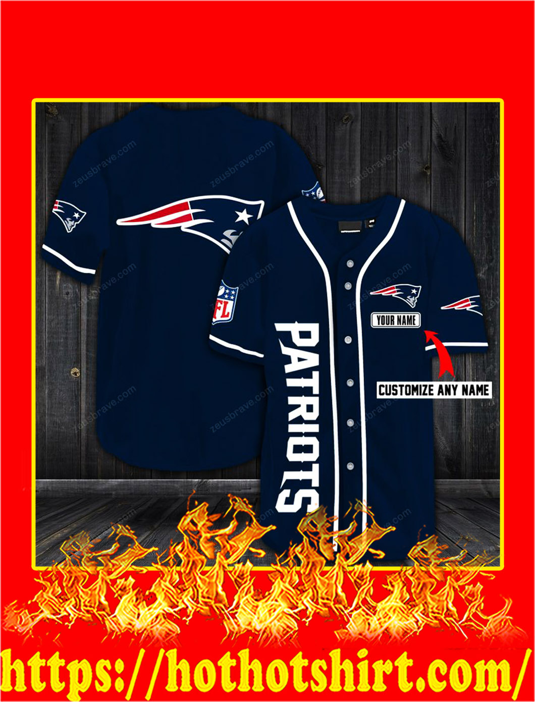 Customize name new england patriots hawaiian shirt- navy