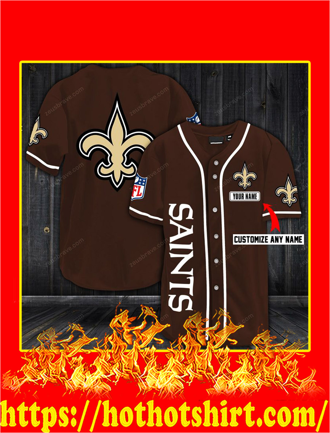 Customize name new orleans saints hawaiian shirt- brown