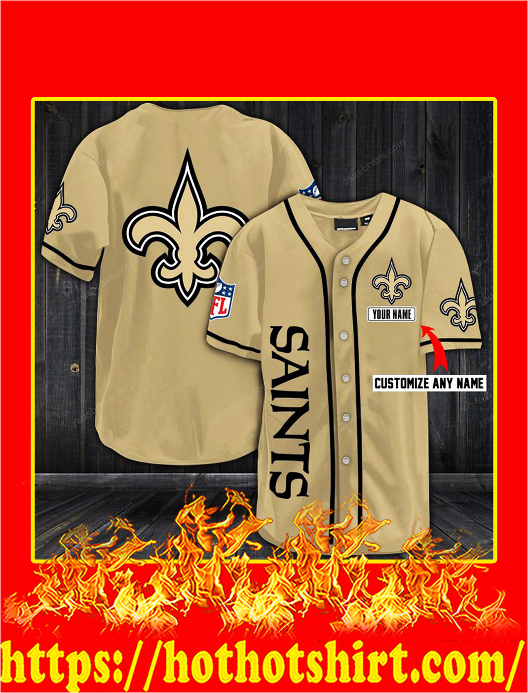 Customize name new orleans saints hawaiian shirt- old gold