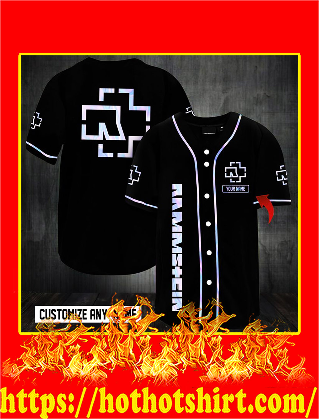 Customize name rammstein hawaiian shirt- M