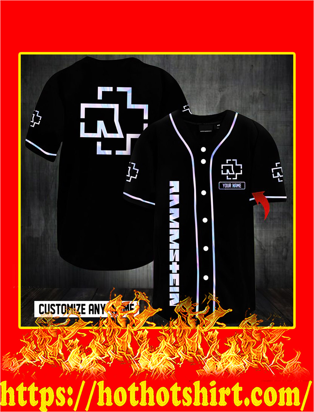 Customize name rammstein hawaiian shirt- S
