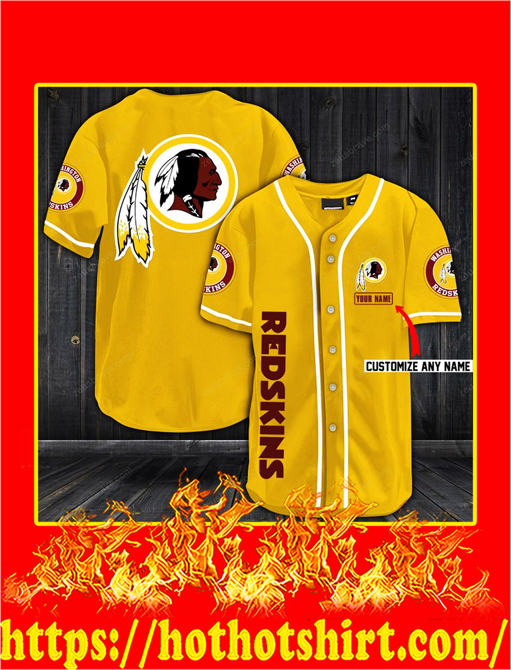Customize name washington redskins hawaiian shirt- gold
