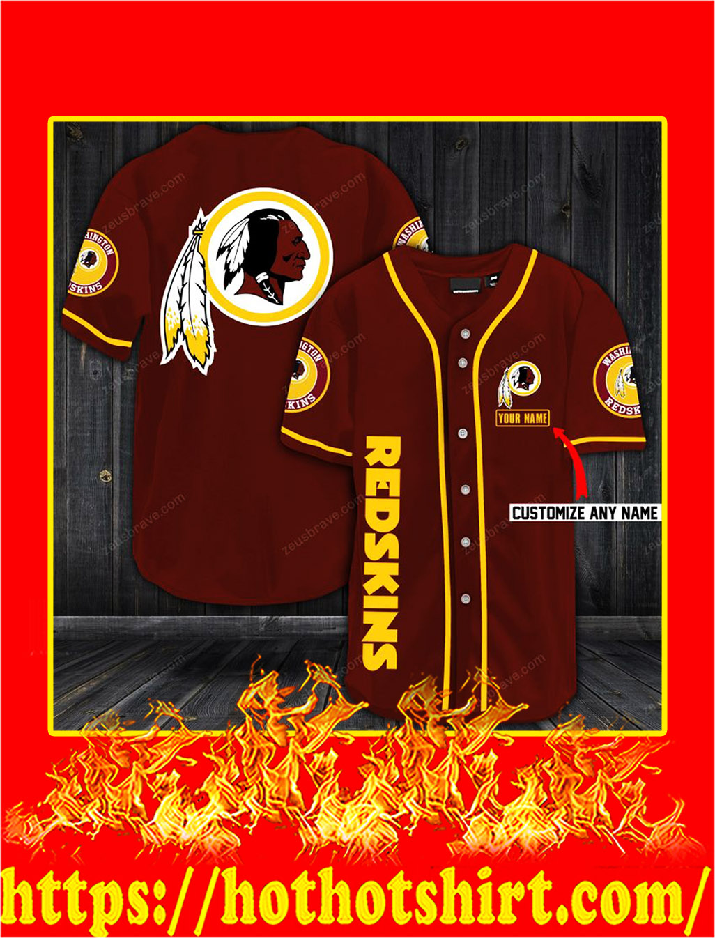 Customize name washington redskins hawaiian shirt- red
