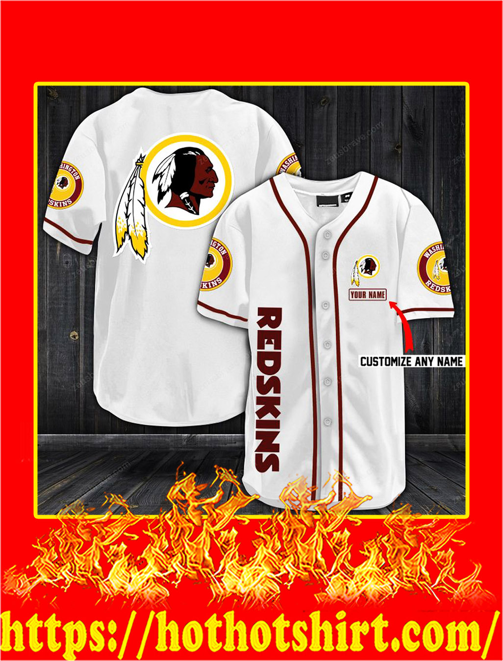Customize name washington redskins hawaiian shirt- white