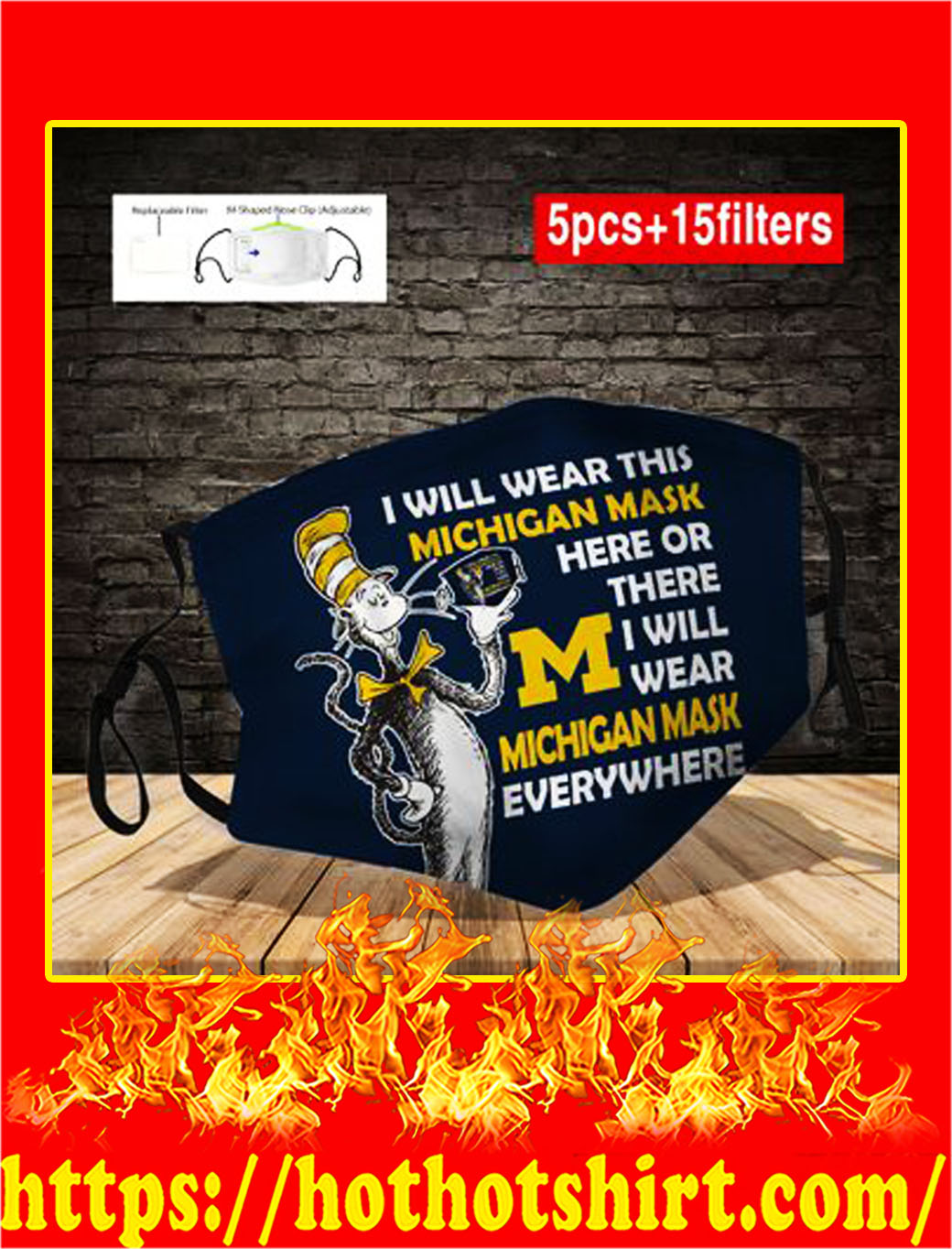 Dr seuss I will wear this michigan mask here or there face mask