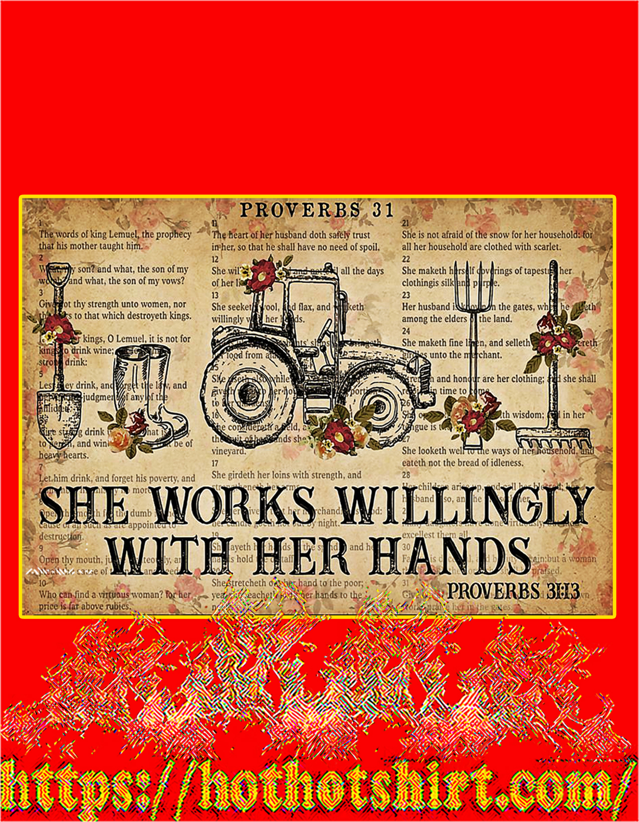 Farmer She works willingly with her hands poster - A2