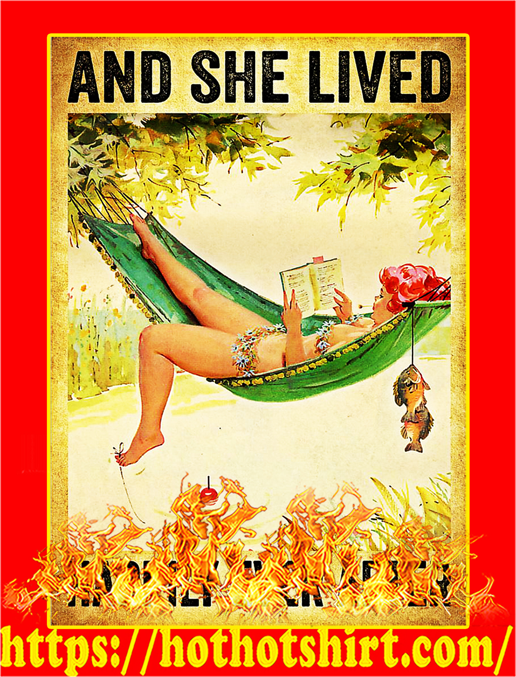 Fishing And she lived happily ever after poster - A3