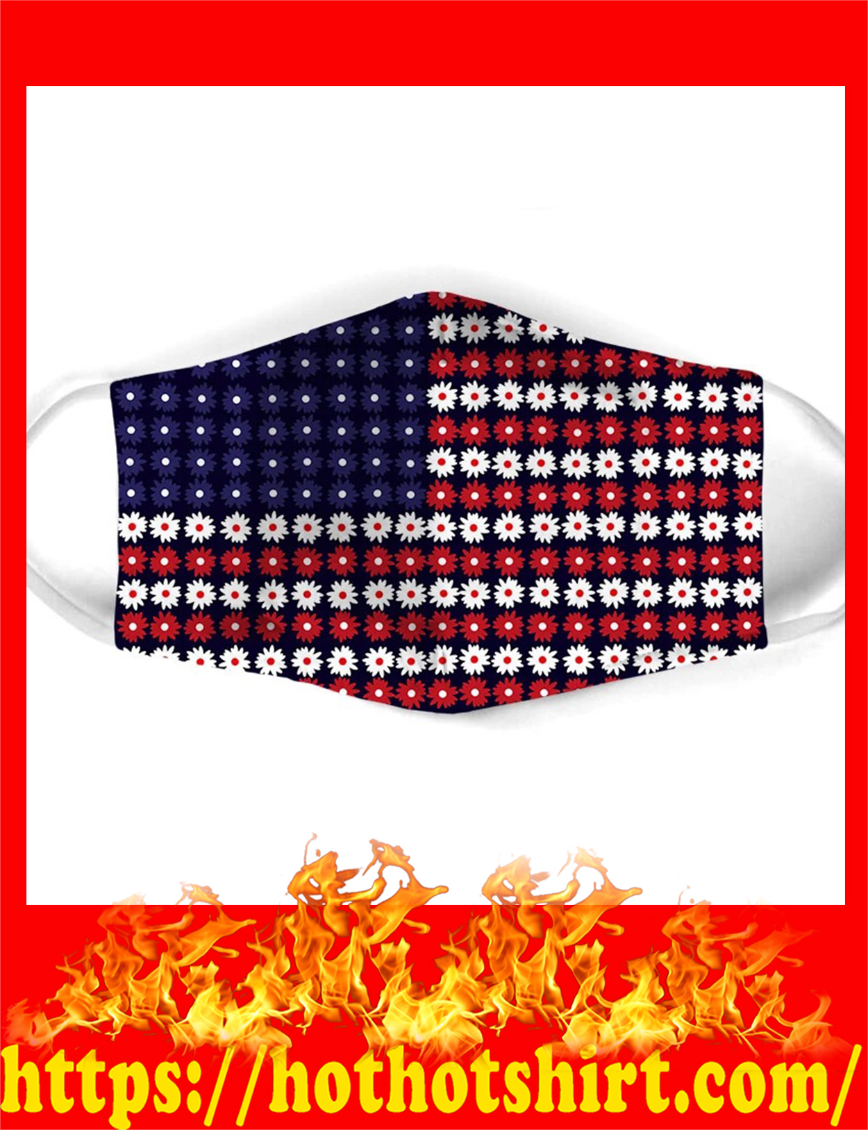 Flower american flag all over prints face mask - pic 1