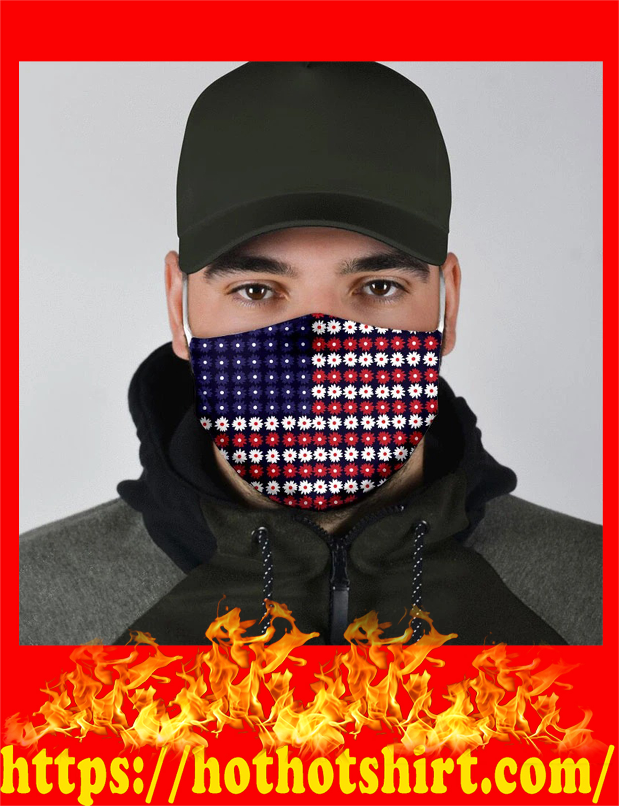 Flower american flag all over prints face mask - pic 2