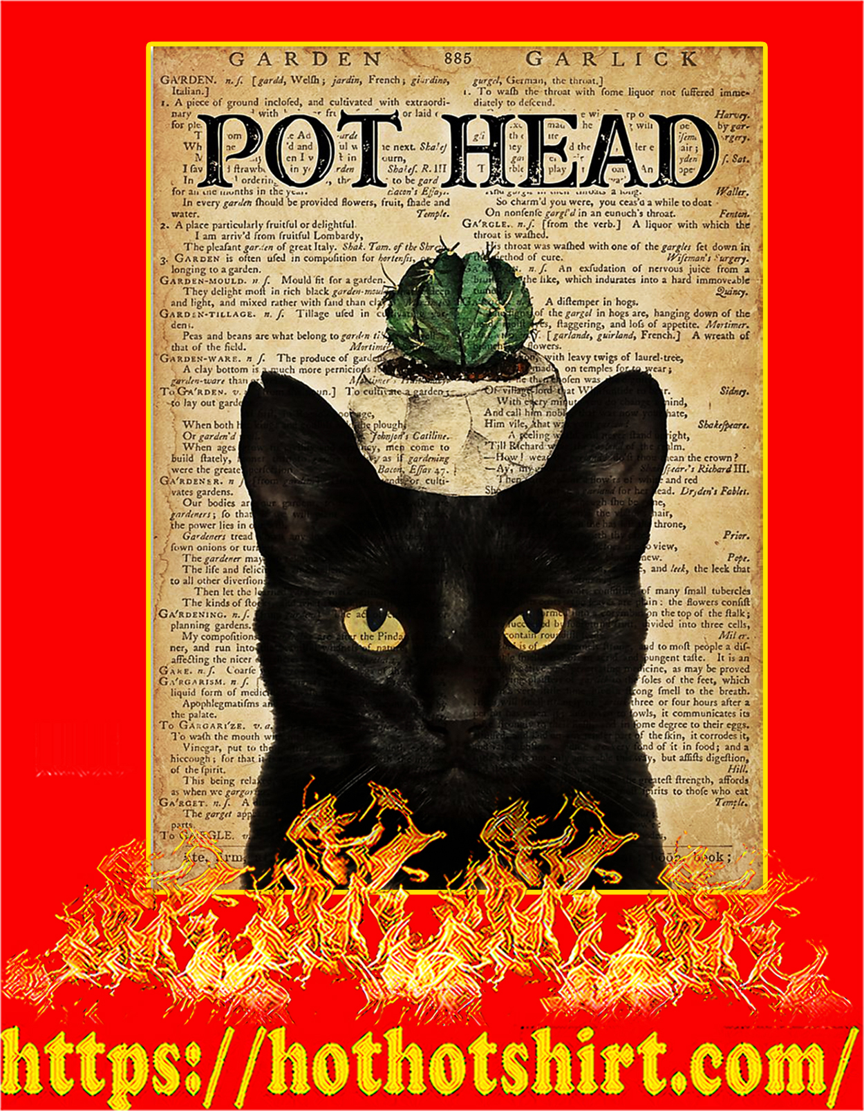 Garden pot head cat poster - A3