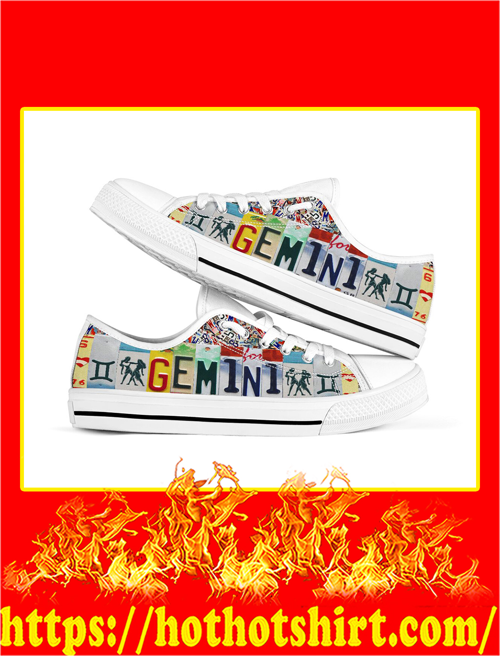 Gemini license plates low top shoes- pic 1