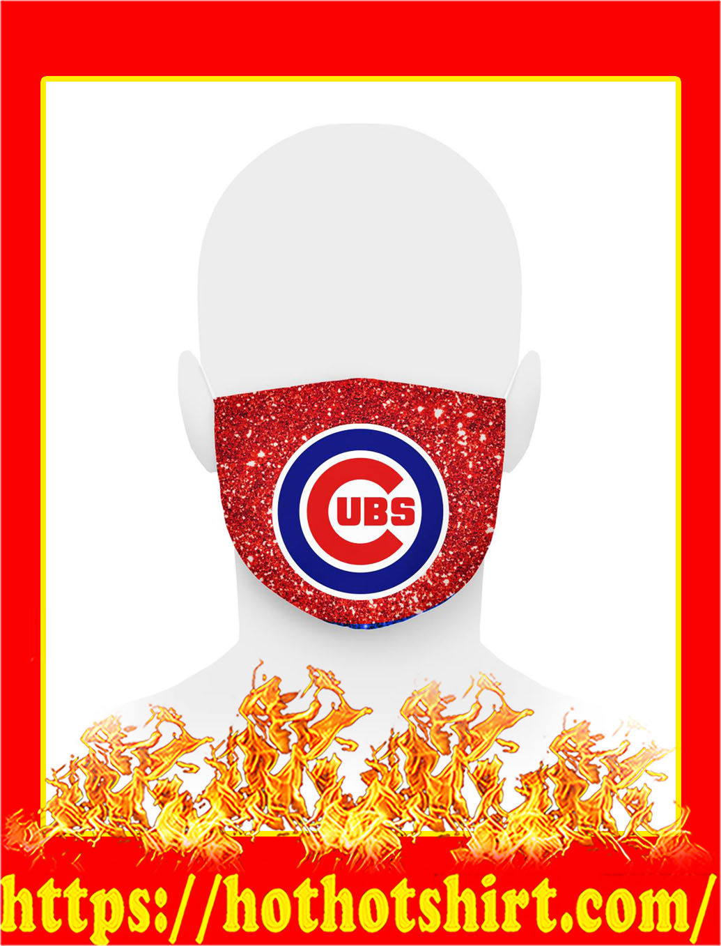 Glitter chicago cubs face mask- pic 1