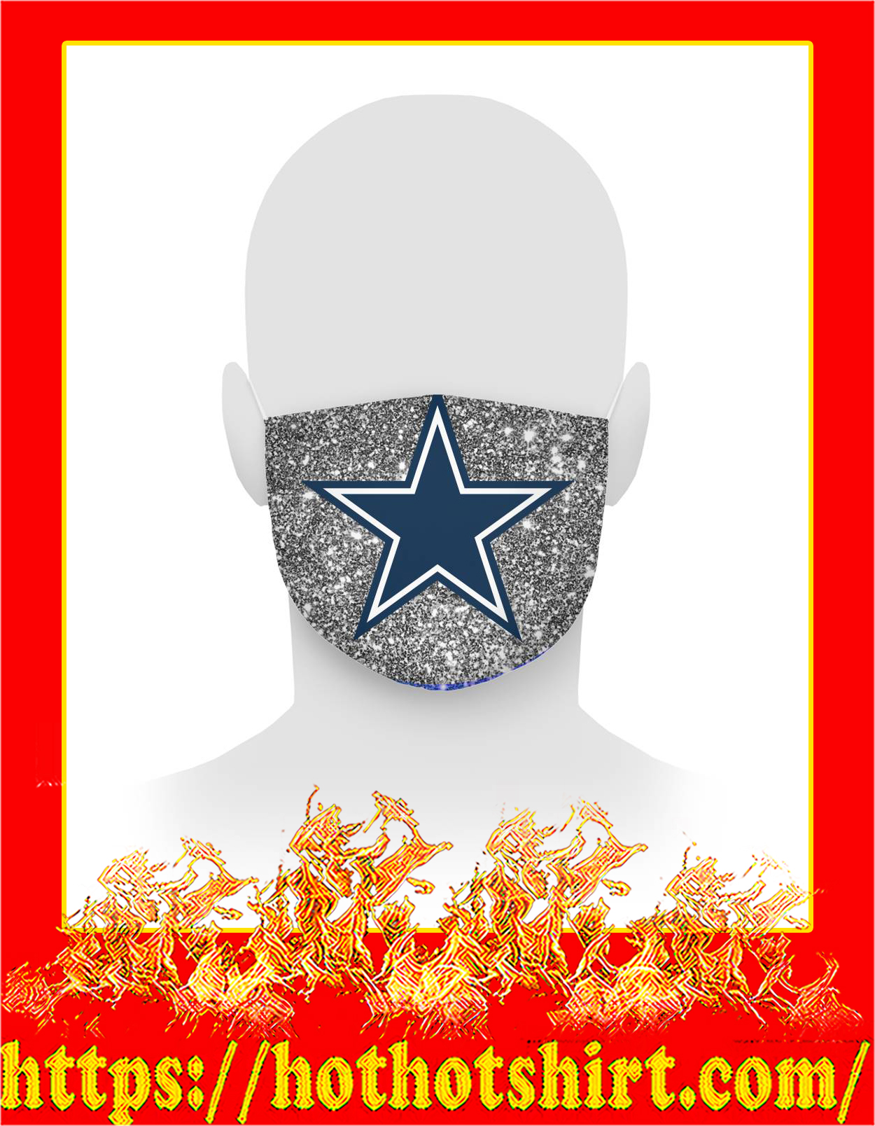 Glitter dallas cowboys face mask - detail